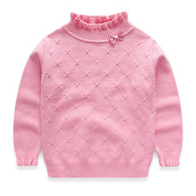 лучшая цена 4 Colors Kids Sweaters Girls Turleneck Pullover Knitted Sweater for girls pull fille Children Winter Clothing sueter infantil