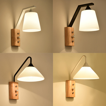 Modern simple solid wood Wall lamps lights bathroom bedroom light led wall lights for home industrial decor bedroom lamp