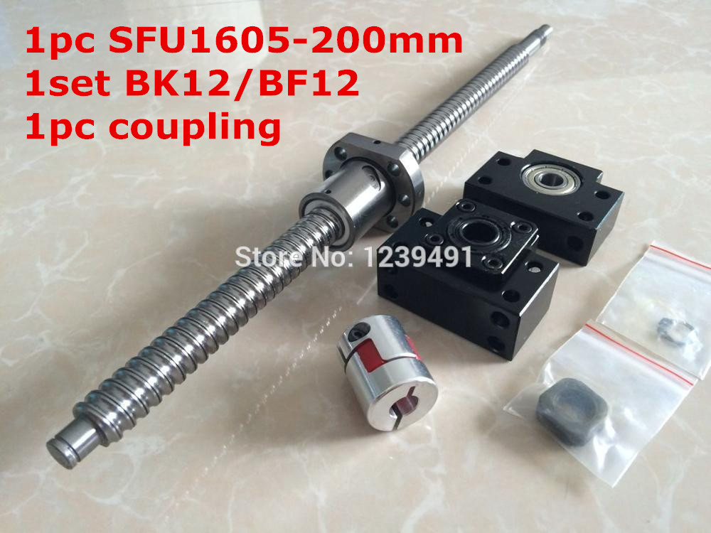 SFU1605 - 200mm Ballscrew with METAL DEFLECTOR Ballnut + BK12 BF12 support + coupling CNC rm1605-c7 rolled c7 ballscrew 1605 700mm ballscrew with metal deflector ballnut bk12 bf12 support coupler