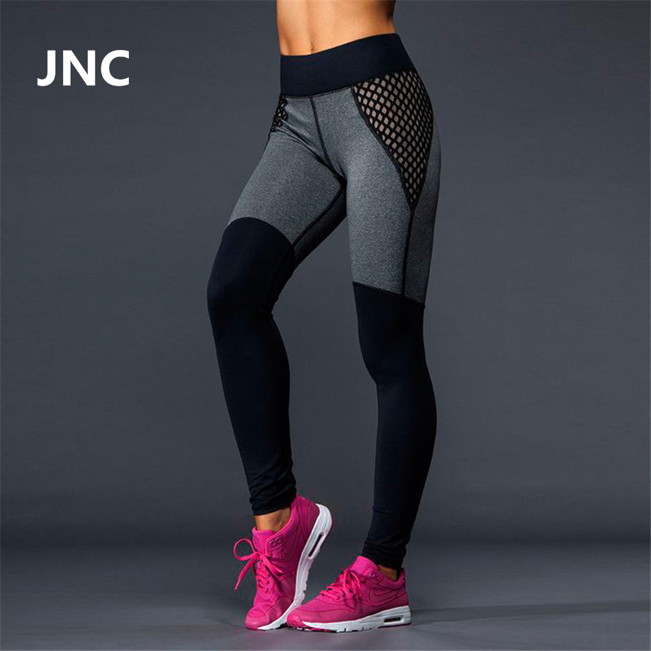 7221e62c15e Dropwow Cute Black Leggings Mesh Yoga Pants Women High Elastic Grey ...