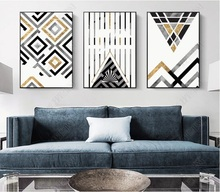 Modern Minimalist Geometric Lines Decorative Paintings Modular Picture Wall Art Canvas Painting for Living Room Customized