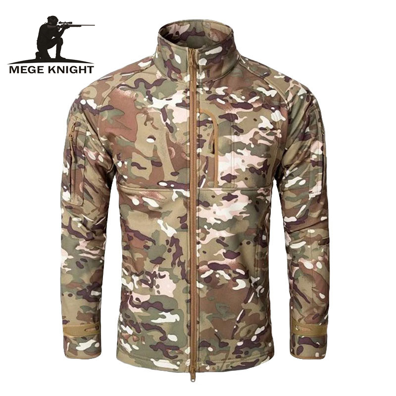 MEGE Homens Moda Standcollar Sharkskin Softshell casacos de Lã Jaqueta  windcheater Militar Caça Tático Roupas de Camuflagem Do Exército 5b067e2a1fb2d