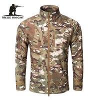 MEGE Mannen Mode Militaire Hunt windcheater Jas Tactische Sharkskin Softshell Standcollar Fleece jassen Leger Camouflage Kleding