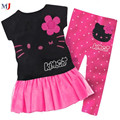 Children girls clothing set baby suit kids 2013 New Retail 100% cotton kids clothing set T-shirt+pant hello kitty children set