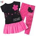 Ropa de los niños niñas bebé cabritos del juego de 2013 nuevos al por menor 100% algodón de los cabritos que arropan la camiseta + pant hello kitty de los niños conjunto