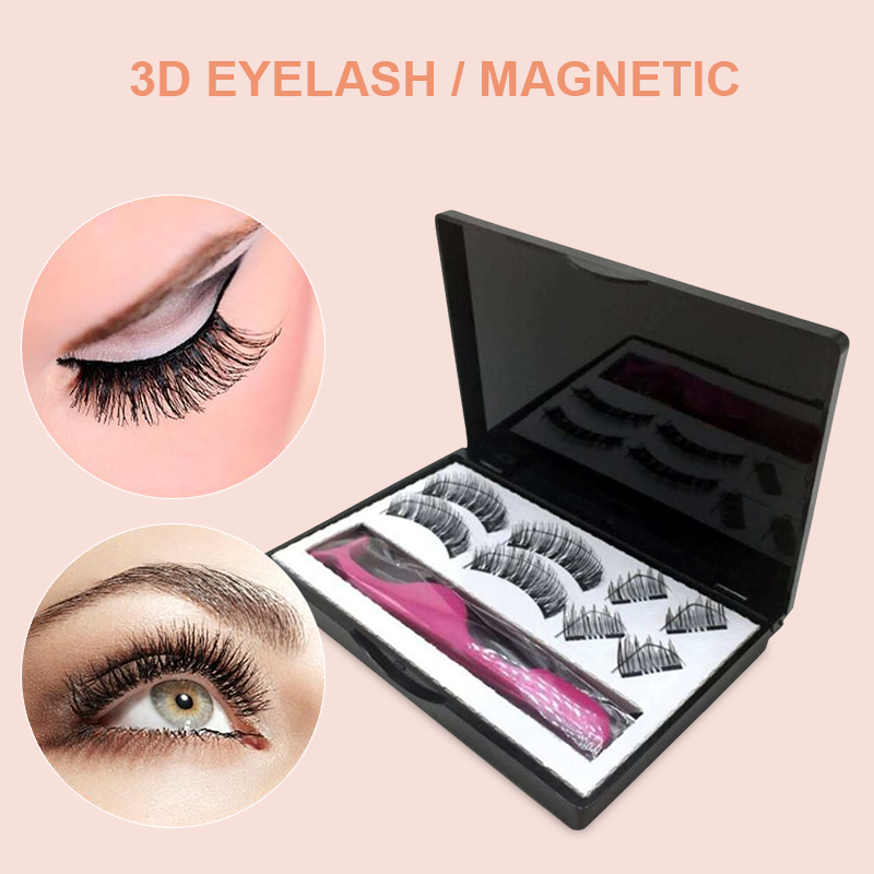 8PCS 3D Magnetic Eyelashes With 2 Magnets Magnetic Handwork Natural False Eyelashes Clip Magnetique With Eyelashe ApplicatorBTZ1