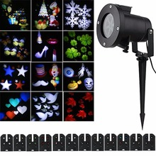 12 Lens Pattern Replaceable Colorful Outdoor LED Projector Waterproof Rotating Laser Projector Lamp Garden LED Light Decoration