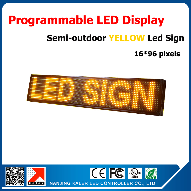 41''*9'' semi-outdoor led billboard with yellow color high brightness advertising led sign moving text 24*104cm