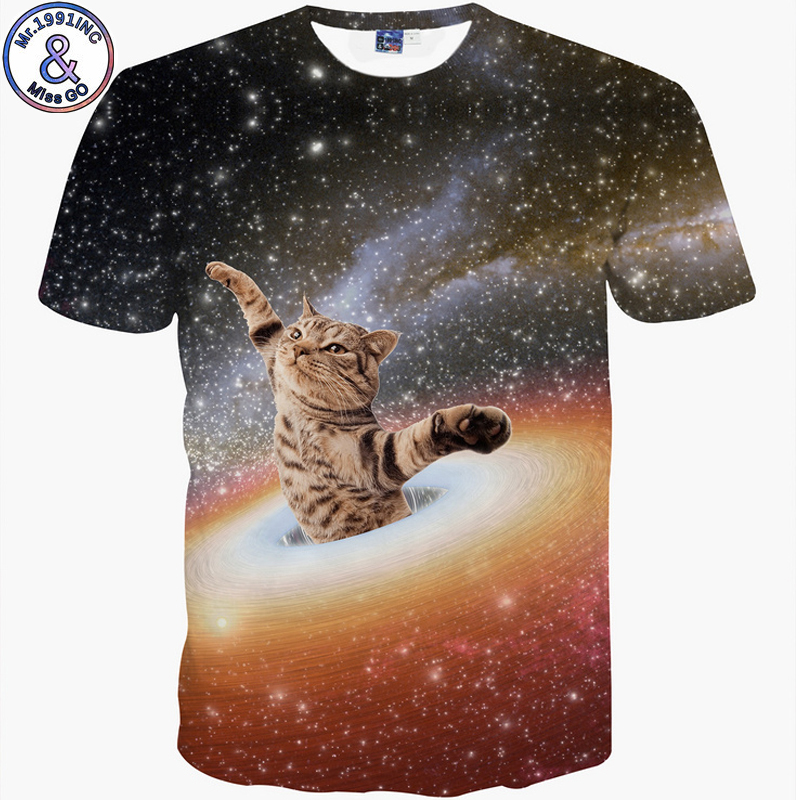 Hot New Wacky animal Men/Women t shirt Short Sleeve O-neck Starry Sky Cat Print Tees Casual t-shirt Hot Tops S-2XL