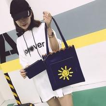 Women Student Cotton Linen Bags Fashion School Girl Shoulder Tote Handbag Large Capacity Shopping Canvas Purse Pouch