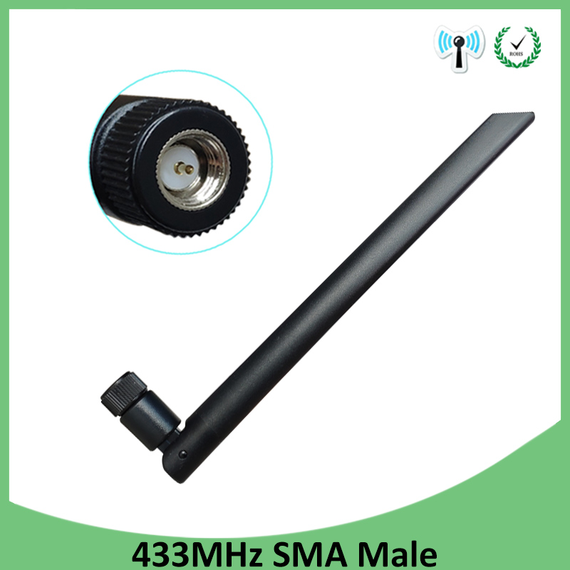 1pcs 433Mhz Antenna 5dbi SMA Male Connector 433 MHz Directional Antena Rubber Aerial Wireless Repeater Lorawan Antenne 433m