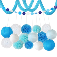 HAOCHU 18 pcs Decoração Do Casamento de Papel Lanterna de Papel Tissue Pom Pom Azul Beijando Bola Decoração do Evento da Festa de Aniversário Do Chuveiro de Bebê conjunto
