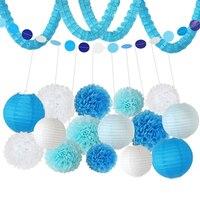HAOCHU 18 stks Blauw Bruiloft Decoratie Tissue Lantaarn Papier Pom Pom Kussen Bal Baby Shower Event Verjaardagsfeestje Decor Set