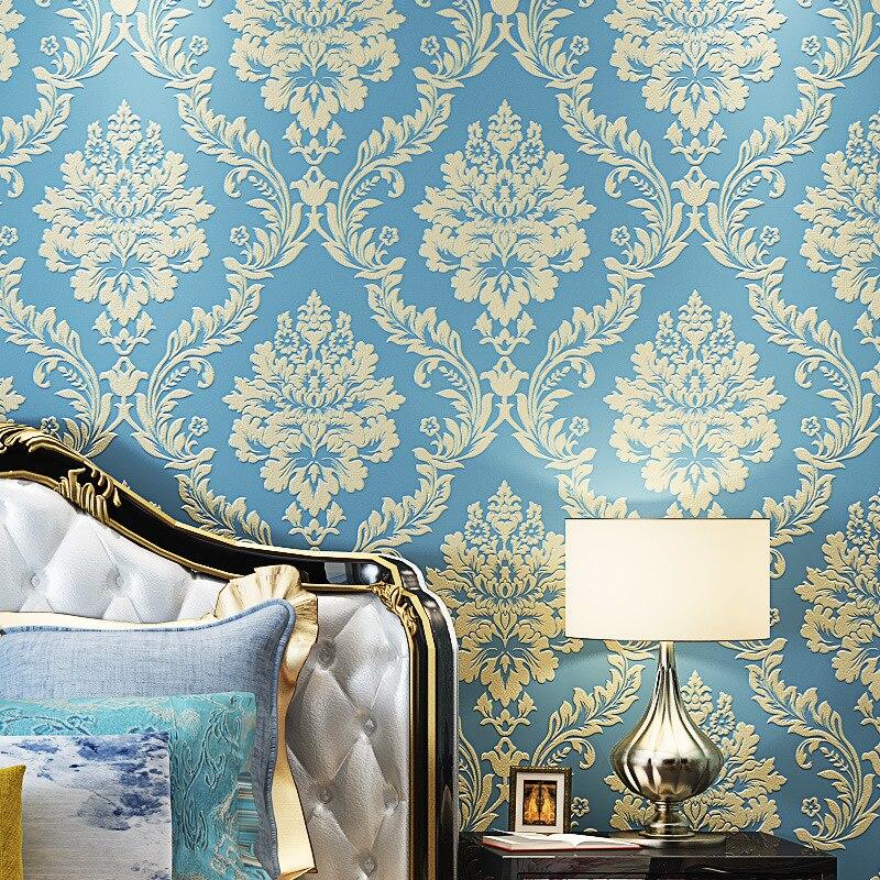 European mural wallpaper 3D non-woven living room bedroom TV background modern minimalist embossed