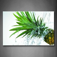 Unframed Wall Art Pictures Pineapple Leaf Water Canvas Print Food Posters No Frames For Living Room Home Office Decor