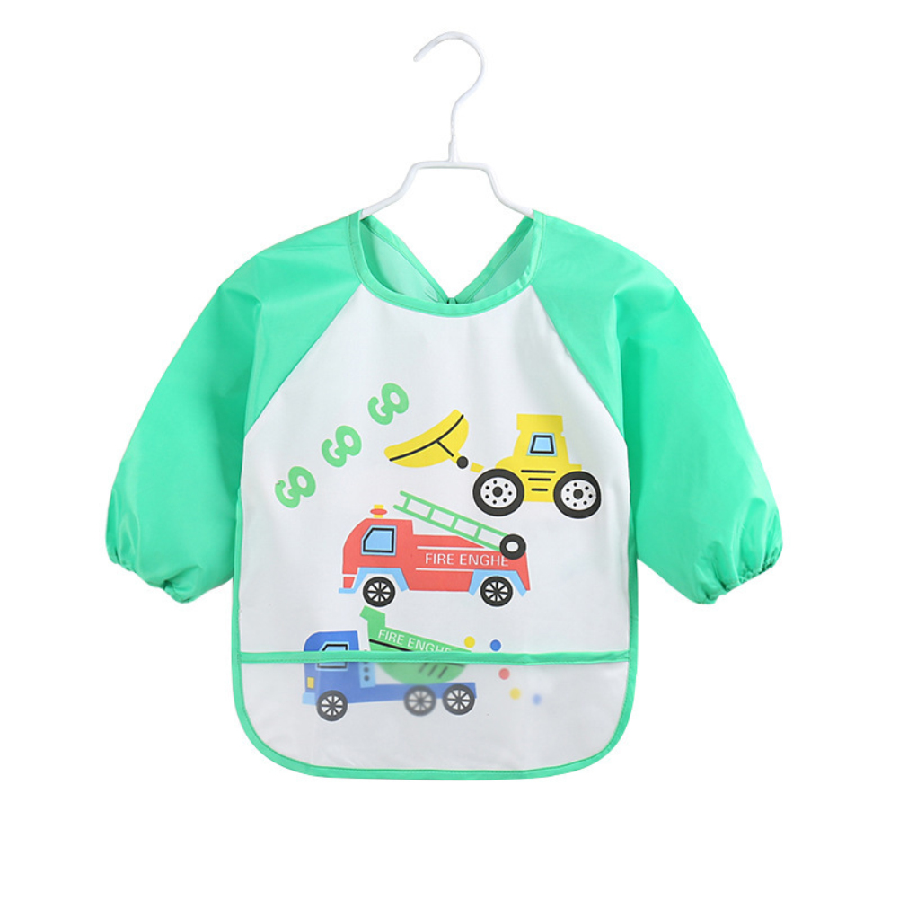Image 4 - Lovely Baby Bibs Infant Long Sleeve Waterproof Baby Feeding Smock Apron Children Plastic Coverall Bib Toddler Newborn Bib Apron-in Bibs & Burp Cloths from Mother & Kids