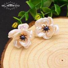 GLSEEVO Natural Fresh Water Baroque Pearl Stud Earrings For Women 925 Sterling Silver Flower Jade Earrings