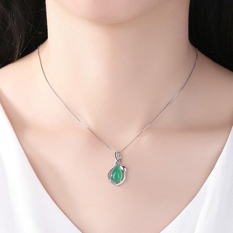 Իրական 925 արծաթե վզնոց զմրուխտ AAA Crystal - Նուրբ զարդեր - Լուսանկար 5