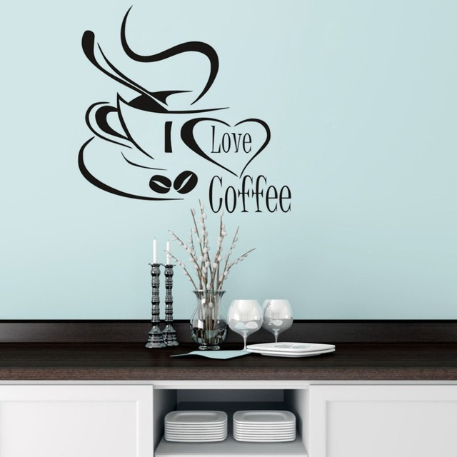 I Love Coffee Wall Decal Carino Tazza di Caffè Wall Sticker Cucina ...