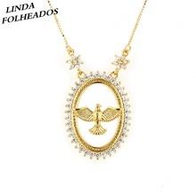 7331a35f17b3 Ventas calientes moda hueco pájaro Oval cobre oro blanco cúbicos Zirconia  nupcial boda joyería COLLAR COLGANTE para las mujeres .