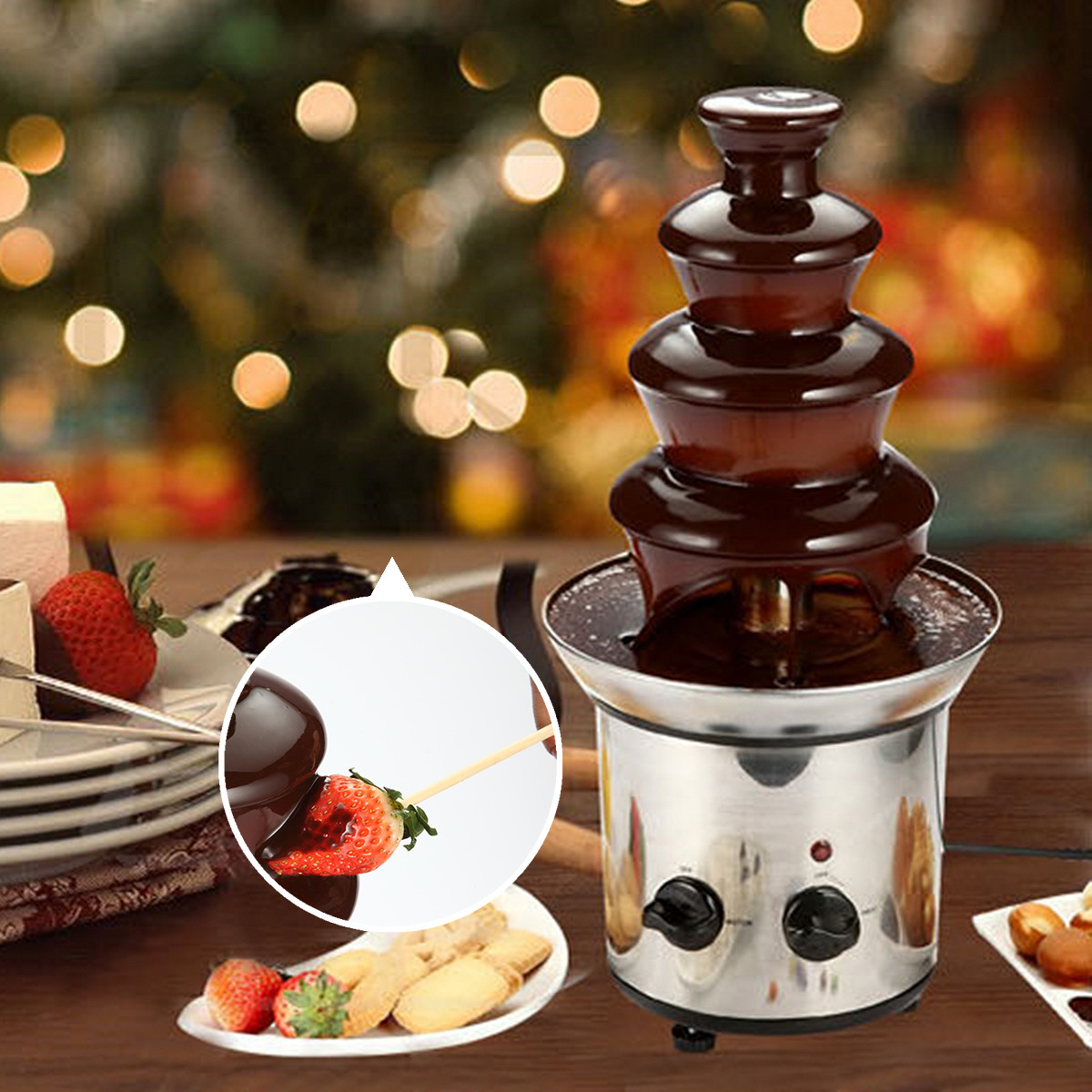 Chocolate Fondue Fountain 4 Tier Mini Stainless Steel 220V EU Plug Waterfall Melting Machine Adjustable Heat Stability for FruitChocolate Fondue Fountain 4 Tier Mini Stainless Steel 220V EU Plug Waterfall Melting Machine Adjustable Heat Stability for Fruit