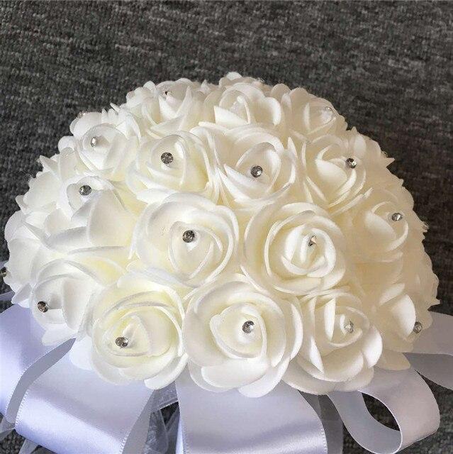 Свадебный Букет 2017 Искусственный Роуз Foamflower Невесты White Satin Кристалл Свадебные Букеты