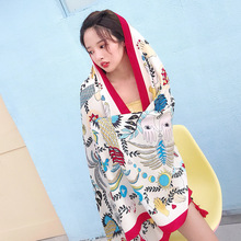1 Ps Elegant Fashion Floral Pattern 180x90cm Women Sunscreen Cotton Linen Beach Head Scarf Silk Shawl wraps bandana beach hijab
