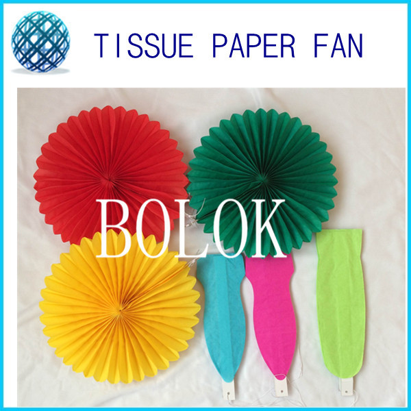 10pcs/lot 12(30cm)White,green, pink, red so on Tissue Paper Fans for New Year Decoration