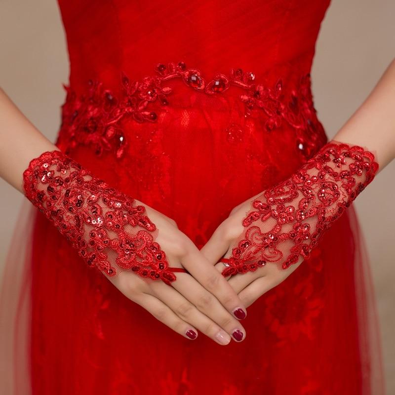 Fingerless Red Lace Bröllopshandskar för Brud Sexiga Brudhandskar - Bröllopstillbehör - Foto 3