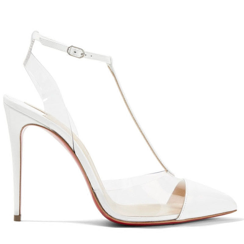 T strap Sandals Stitching Sexy Glass Plastic Transparent Plastic Hollow High heeled Stiletto Pointed Shoes Baotou