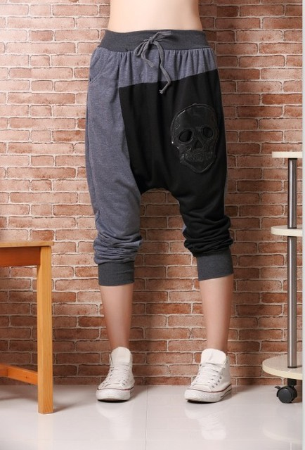 Nova moda das mulheres calças grandes virilha harem pants patchwork crânio calça casual