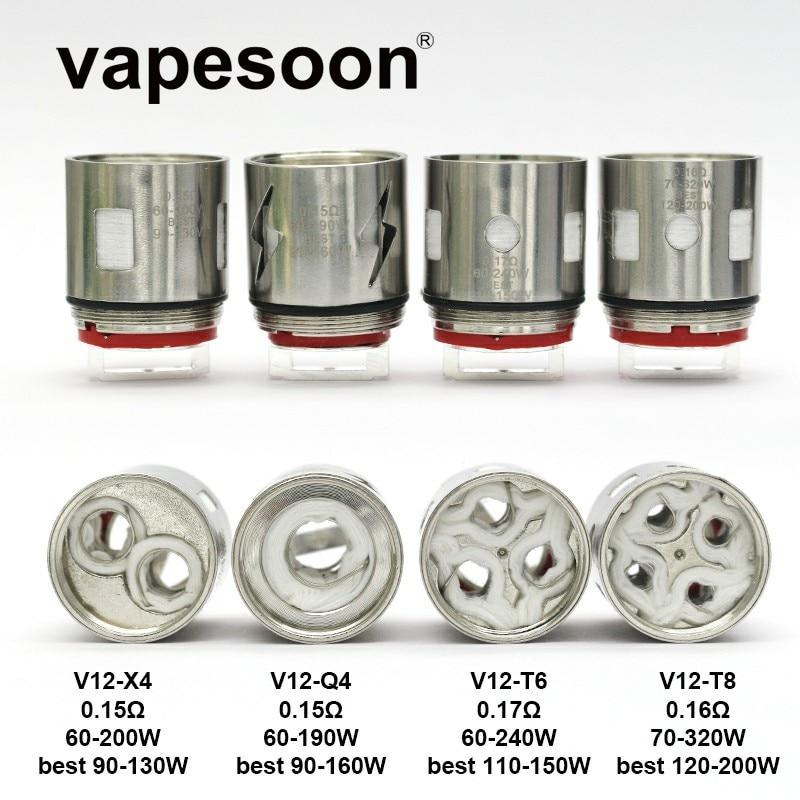 25 pièces TFV12 Bobine Tête V12-T6 V12-Q4 V12-X4 V12-T8 Noyau DS Double Bobine De Rechange V12 T6 Q4 X4 T8 pour SMOK TFV12 Réservoir Atomiseur