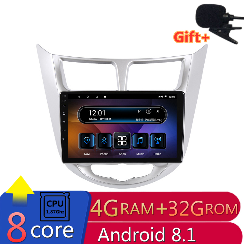 "10"" 4G RAM 2.5D IPS 8CORE Android 8.1 Car DVD Multimedia Player GPS for Hyundai Solaris accent Verna i25 audio radio  navigation"