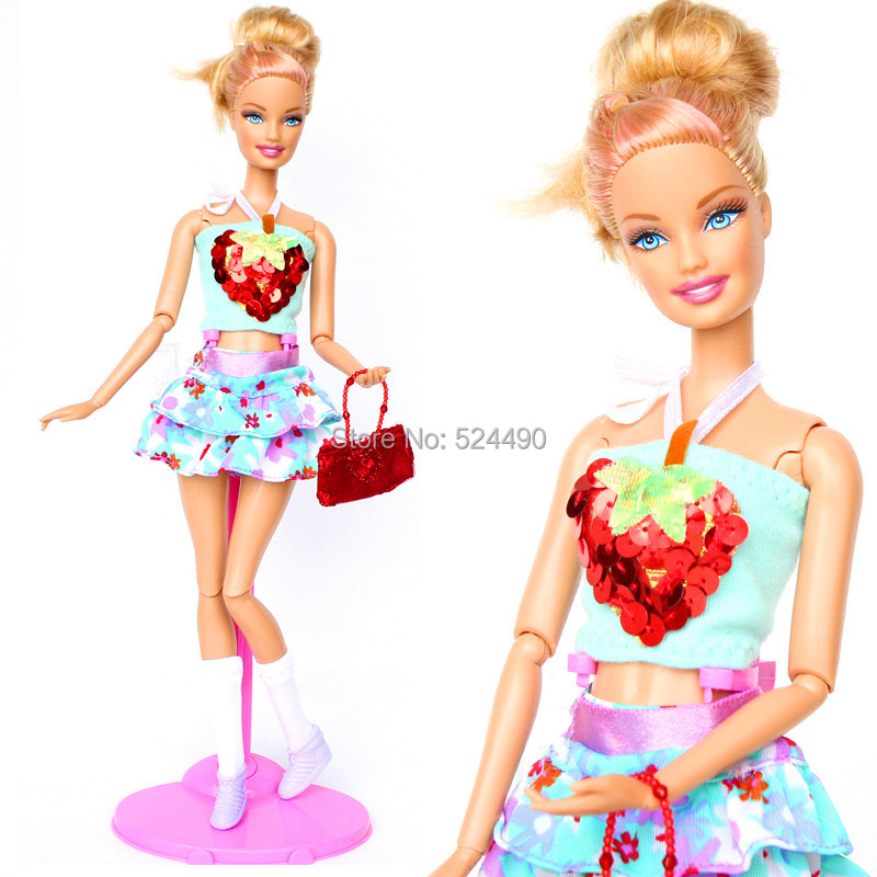 (Mix Transport) Handmade Garments Summer season Gown Set Love Coronary heart Prime Flower Skirt Pink Bag Sockings Swimsuit For Barbie Doll