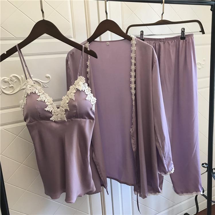 Lisacmvpnel 3 Pcs Ice Silk Woman   Pajama     Set   Nightgown+Cardigan+Long Pant   Set   Lace Sexy Female   Pajamas