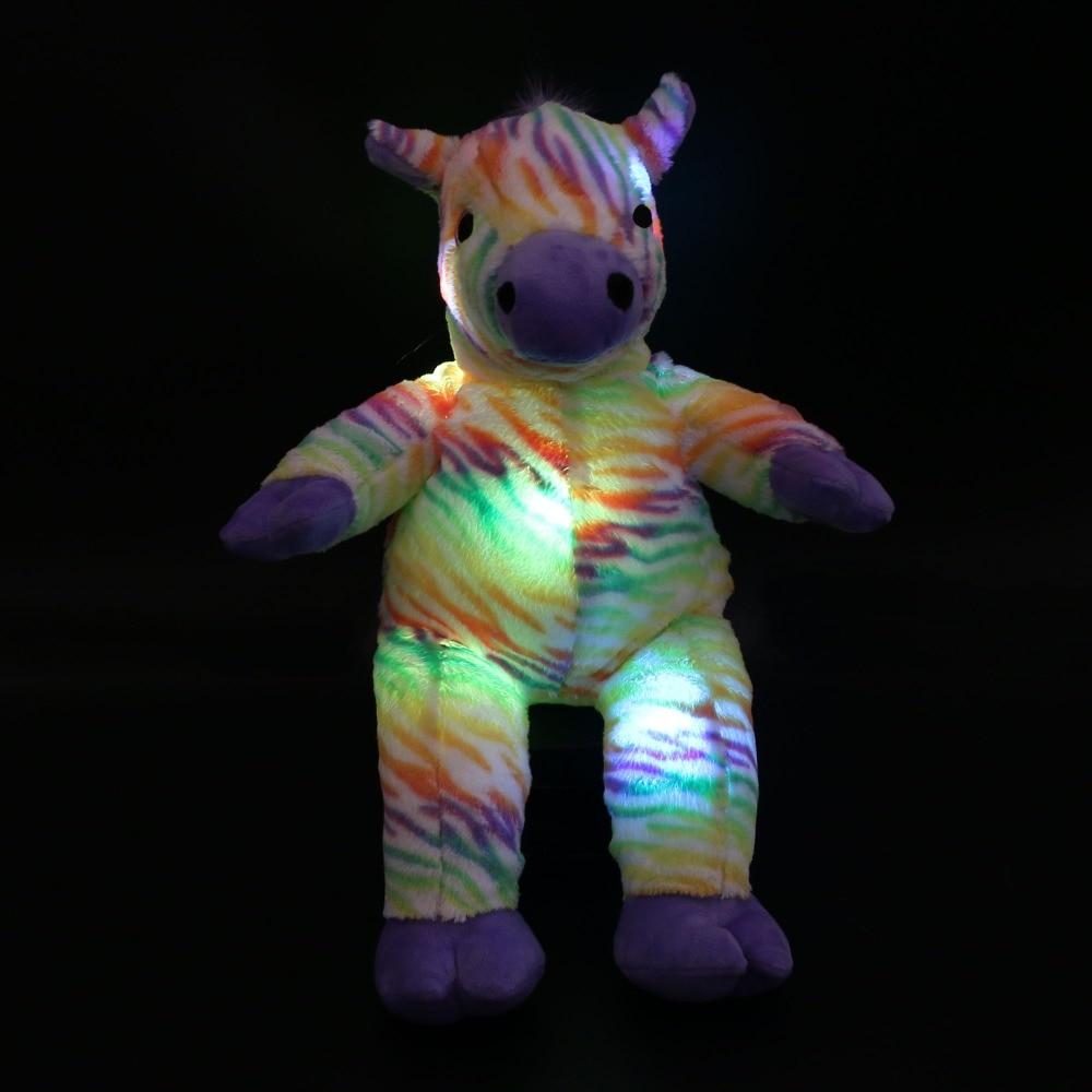 1pcs 45CM Romantic Luminous Zebra Doll Night Glowing LED Zebra Stuffed Animal Toys Kids Gifts