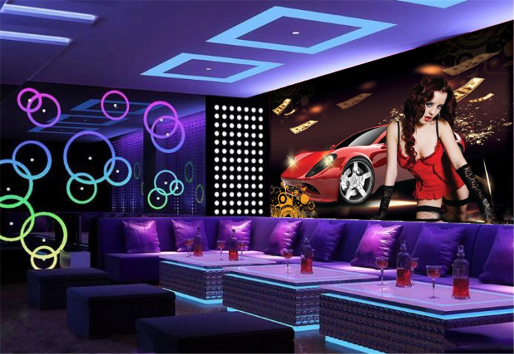 Wholesale Decorative Bar KTV <font><b>3d</b></font> <font><b>Wallpaper</b></font> Enchanting <font><b>Car</b></font> Girl Beautiful Practical Waterproof <font><b>Wallpaper</b></font> image