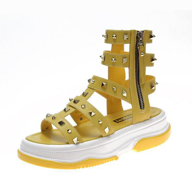 Yellow Sandals Bohemian Wedges Low-Heel Summer Ladies Size-35-39 Punk Black Casual Rivet