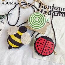 Children PU Leather Purse Handbags Ladybug Snails Bee Mini Shoulder Bag New Cartoon Little Girls Messenger Bag Crossbody Handbag