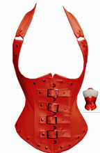 Sexy Faux Leather Strap Corset Lace up Spiral Steel Boning Underbust Basques