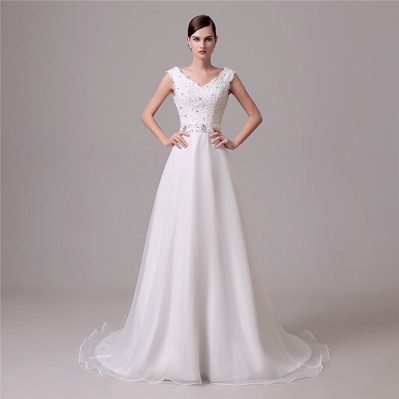 Elegant Cheap Wedding Dress V Neck Organza Crystal Lace