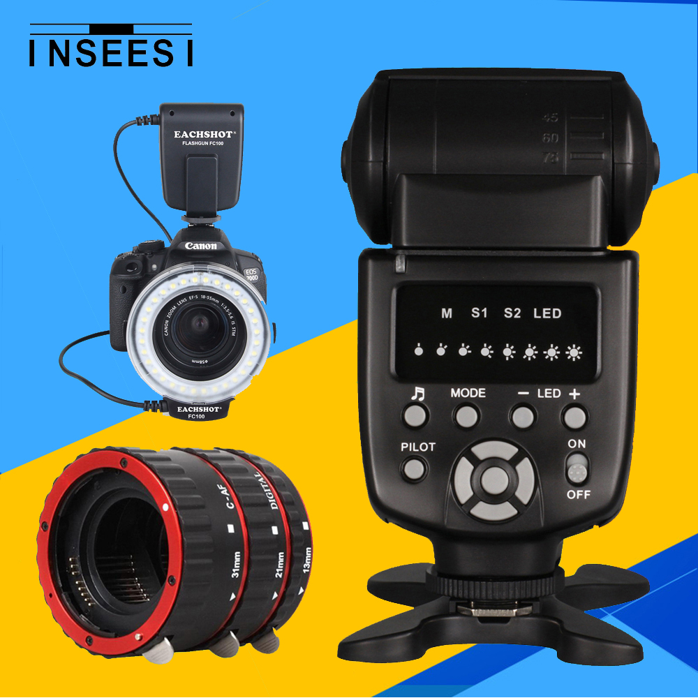MEIKE FC-100 FC100 Manual LED Macro Ring Flash Light & INSEESI IN 560IV Flash Speedlite &Red Metal Mount Auto Focus AF Tube Ring godox witstro ar400 400w li ion battery professional macro led ring flash speedlite 2 in 1 led video light 5600k