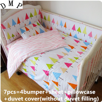 2017! 6/7PCS Baby Bedclothes For Baby Cribs And Cots For New Born Bed Very Cute Duvet Cover,120*60/120*70cm mool 1 bag 350pcs latex disposable finger cots rubber dust free finger cots roll dactylotheca white