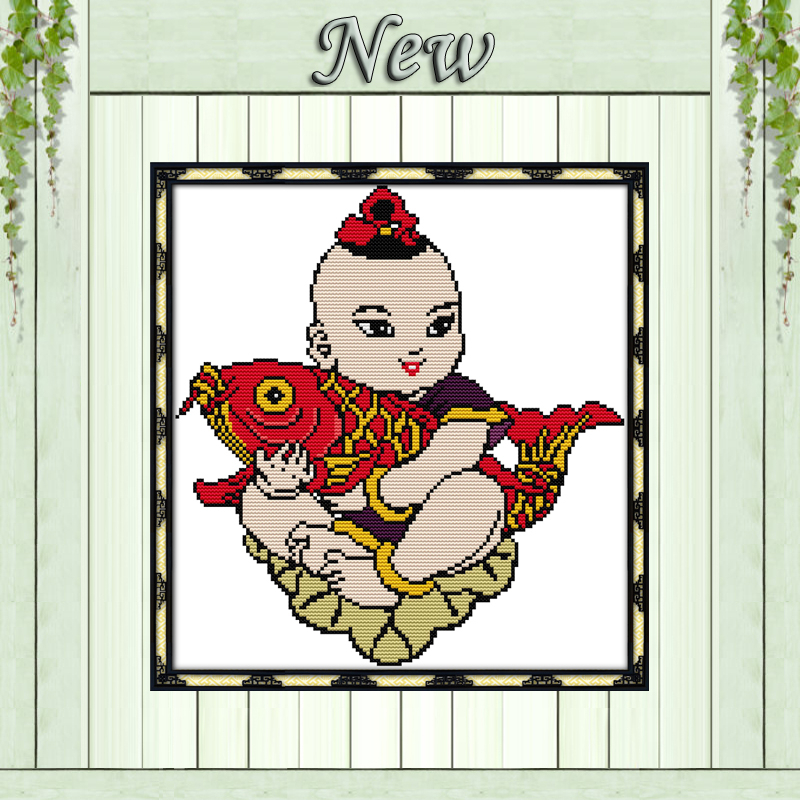 New Year picture boy carp decor paintings counted print on canvas DMC 14CT 11CT DIY Cross Stitch Embroidery kits Needlework Sets image