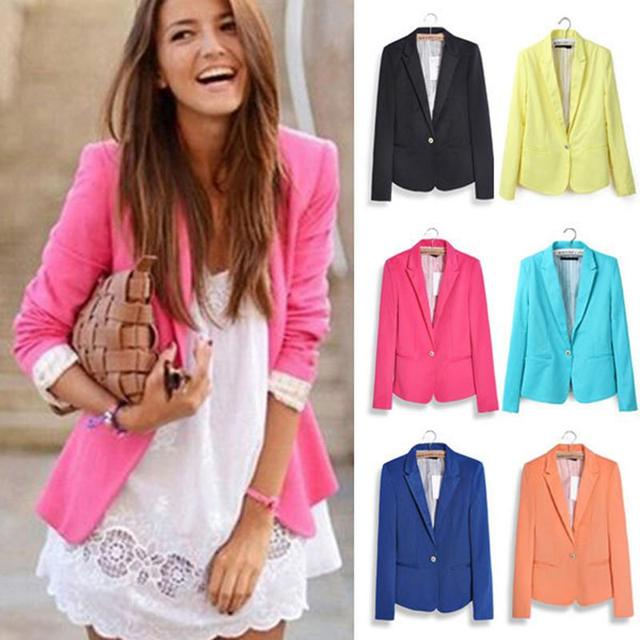 2016 XS-XXL New Women's Basic Suits Candy Color Casual Slim Foldable Sleeve Ladies One Button Jackets Cardigan Coats 6 Colors