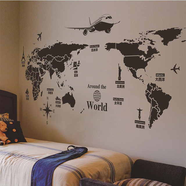 World map mural creative personality wall decorations living room world map mural creative personality wall decorations living room roomsticker bedroom wall diy art home decoration gumiabroncs Choice Image