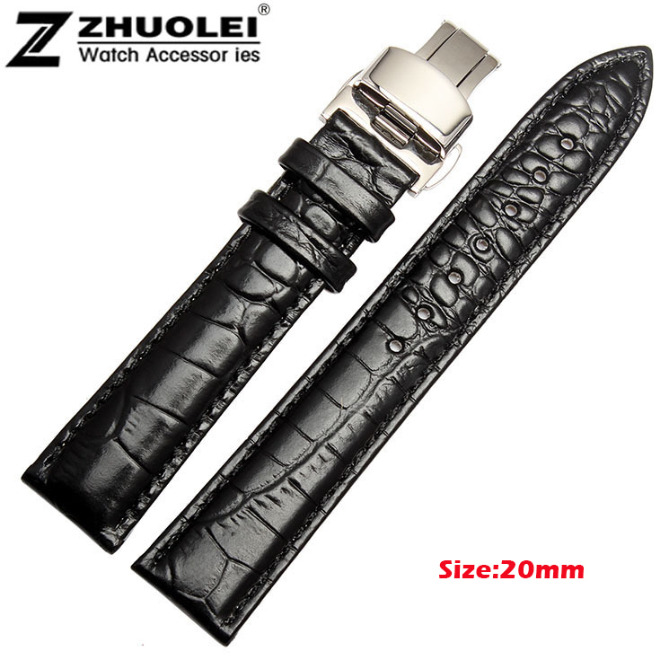 NEW 18mm 19mm 20mm 22mm Black brown Genuine Leather Watch BAND Strap Folding Butterfly Clasp for ar watchband genuine calf leather watch band strap butterfly buckle watchband 18mm 20mm 22mm black brown crocodile pattern watch accessories