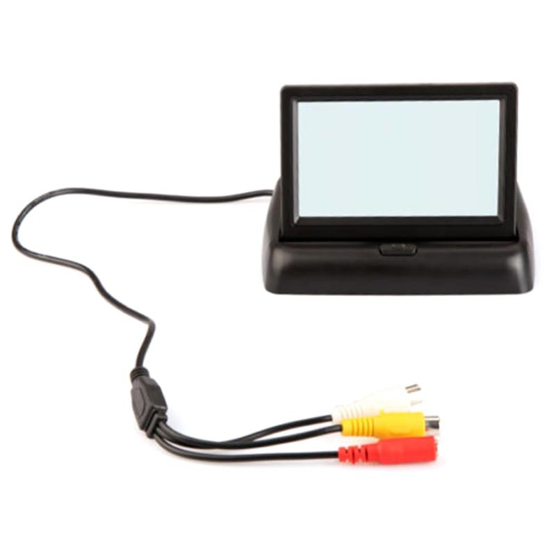 Складной 4.3 дюйма Цвет ЖК-дисплей TFT обратный заднего вида Мониторы для автомобиля Резервное копирование Камера