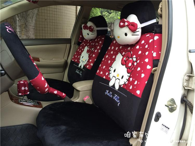 1Hello Kitty Black Red White Heart Car Seat Covers Belt Shoulder Pads Steering Wheel Cover Mirorr - Self Balance Scooters Manufacture store