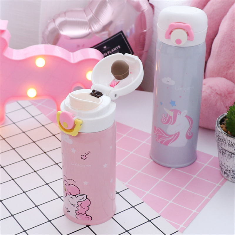 350ml and 500ml Thermal Flask and Unicorn Mug with Strainer for Warm Milk and Water 12